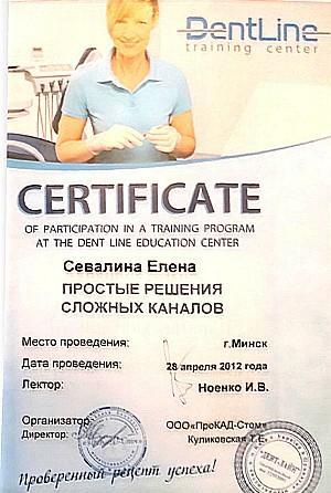 сертификат по эндодонтии